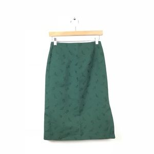 Rena Lange Pencil Skirt Green Butterfly Floral 36